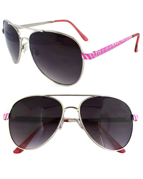 Xoxo Women Color Aviator Metal Trim Sunglasses Pink