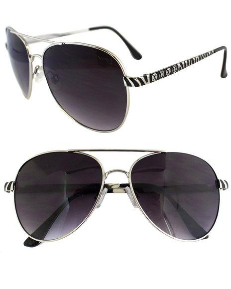 Xoxo Zebra Aviator Metal Trim Sunglasses Black