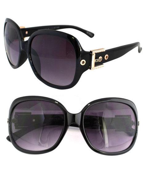 Xoxo Gold Buckle Temple Sunglasses Black