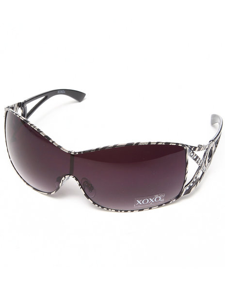 Xoxo Women Zebra Metal Shield Sunglasses Black