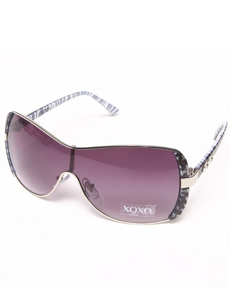Xoxo Women Animal Trim Temple Shield Sunglasses Animal Print