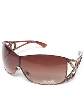 XOXO - Leopard Metal Shield Sunglasses