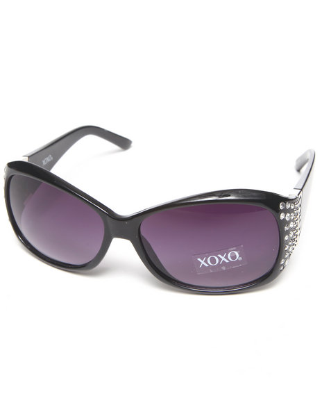Xoxo Blinged Temple Sunglasses Black