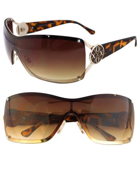 Xoxo Leopard Gradient Shield Sunglasses Brown