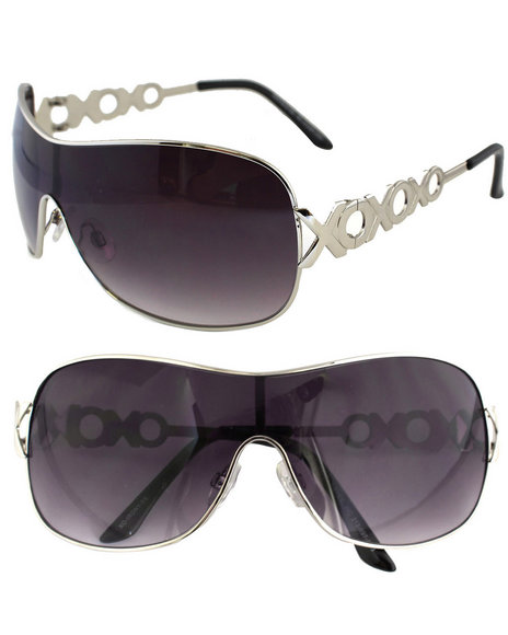 Xoxo Women Monogram Temple Shield Sunglasses Silver