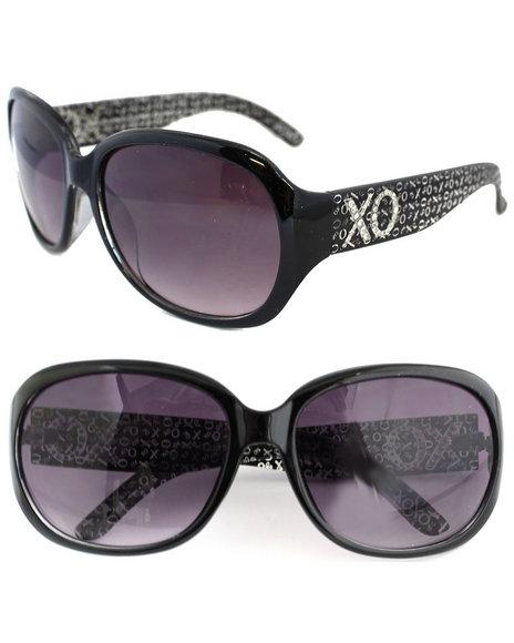 Xoxo Matrix Temple Glitter Logo Sunglasses Black