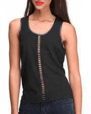 Women - Vegan Leather Cage Insert Chiffon Top