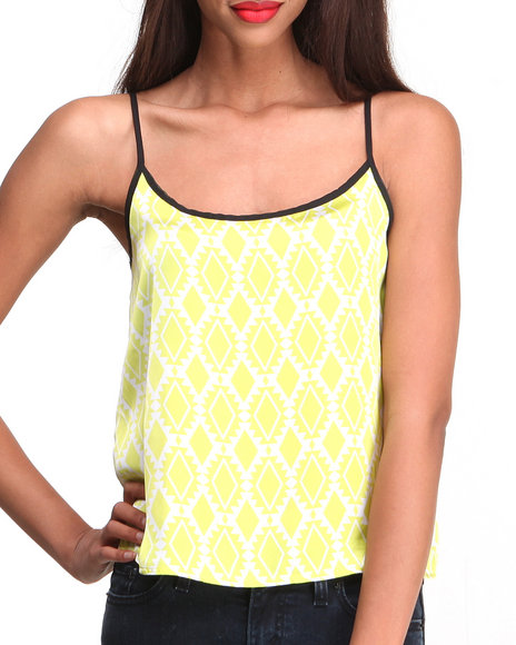 Ali & Kris - Women Lime Green,White Aztec Chevron Chiffon Crop Top - $6.99