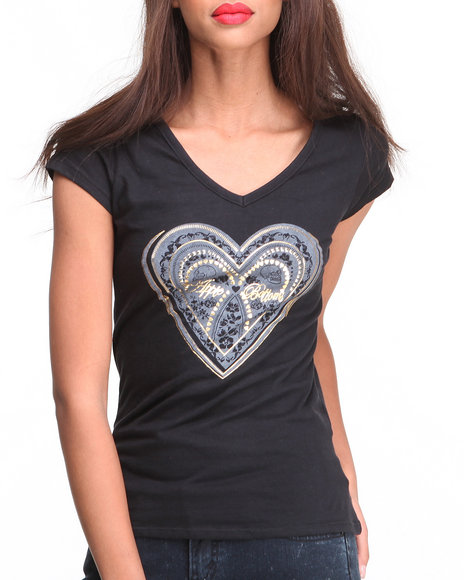 Apple Bottoms - Women Black Cage Back Heart Logotee - $7.99