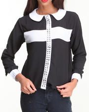 Tops - Studded Cross Roll-up Sleeve Shirt
