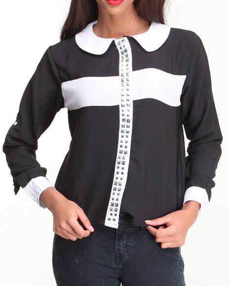 Apple Bottoms - Studded Cross Roll-up Sleeve Shirt