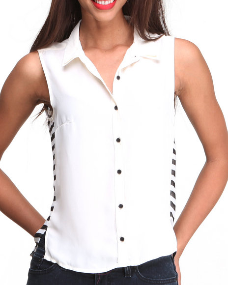ALI & KRIS Black,White S/L Keyhole Stripe Back Chiffon Top