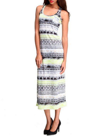 Fashion Lab - Women Black,Multi Tribal Print Maxi Dress W/ Front Pocket