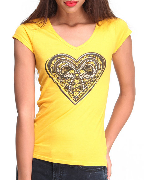 Apple Bottoms - Women Yellow Cage Back  Heart Logotee - $10.99