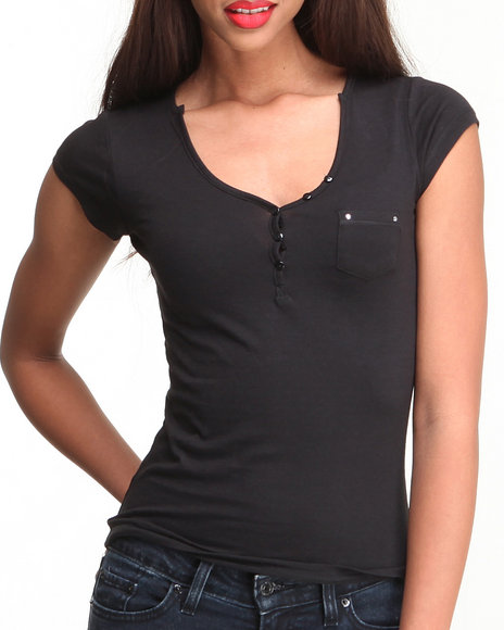 Fashion Lab - Women Black Basic V-Neck Henley Top W/ Studded Chest Pocket