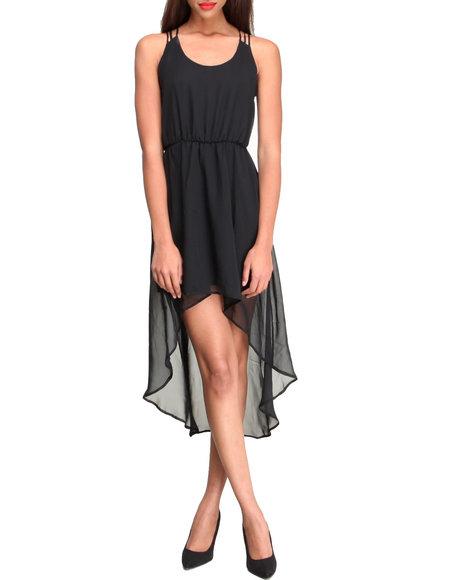 Fashion Lab - Women Black Chiffon Hi-Lo Racerback Dress W/ Cutout Detail In Back