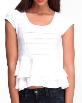 Fashion Lab - Eyelet Ruffled Peplum Top w/ Exposed Back Zipper