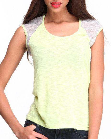 Fashion Lab - Women Yellow Scoop Neck Top W/ Mesh Sleeve Panels
