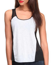 Women - Colorblock Tank w/ Illusion Mesh Straps & Sides