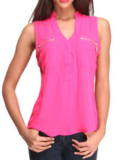 Women - S/L Zipper Pocket Chiffon Top