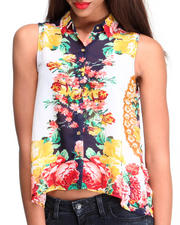 Women - S/L Floral Chiffon Hi-Low Hem Top