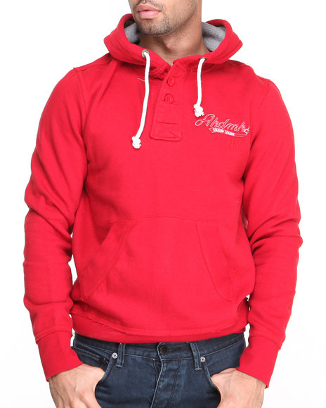 Akademiks - Men Red Tranquilizer Vintage Fleece Henley Hoodie