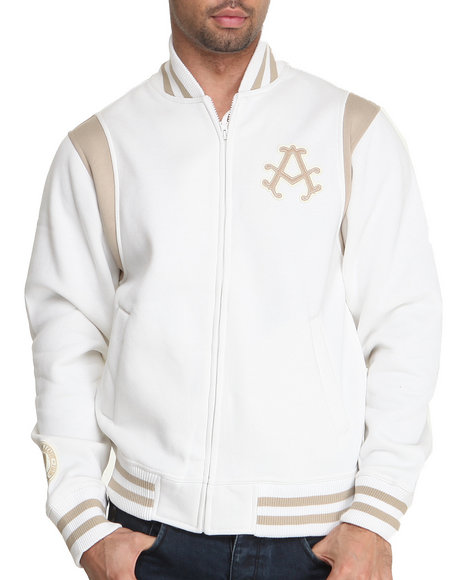 Akademiks - Men Off White Collegiate Fleece Varsity Jacket