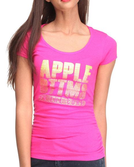 Apple Bottoms - Women Pink Apple Core Gradient Stones Logo Tee