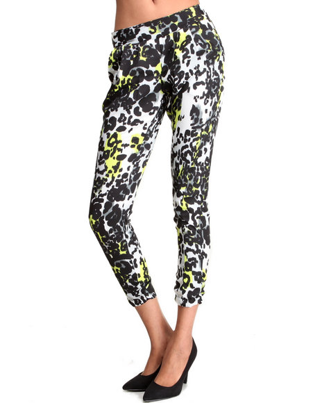 Ali & Kris - Women Neon Green,Animal Print Neon Animal Print Rouched Soft Pant