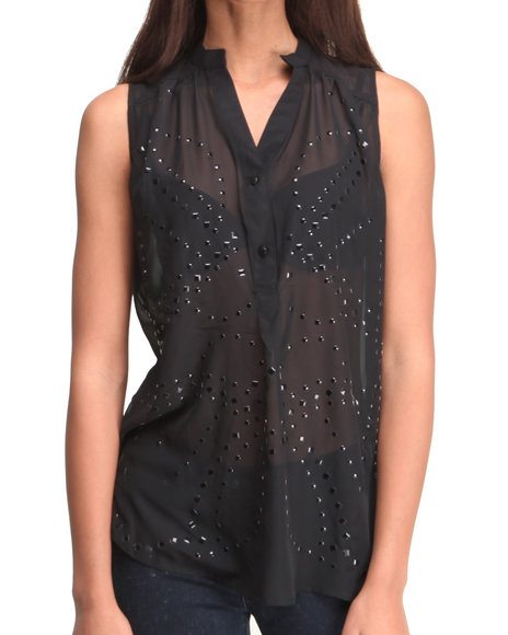 ALI & KRIS Black S/L Studded Chiffon Top