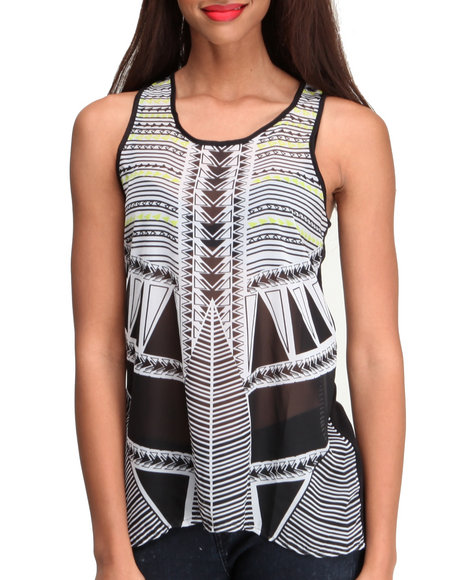 Ali & Kris - Women White Aztec Chiffon Hi-Low Hem Knit Back Top (Plus)