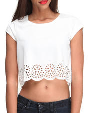 Women - Ponti Laser Cutouut Crop Top w/ Back Zipper Detail