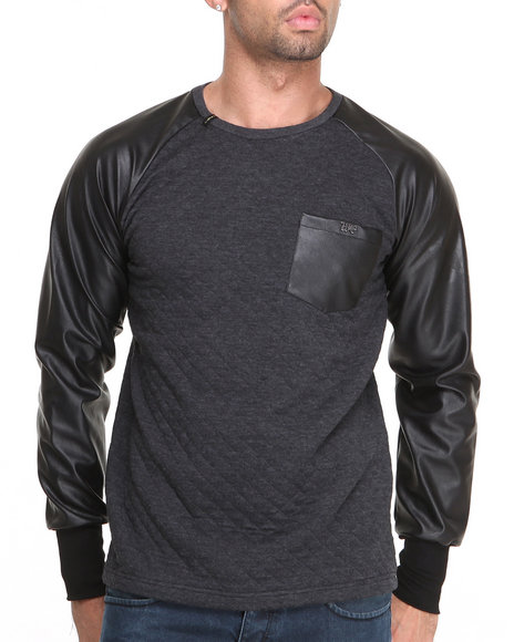 Well Established - Men Black Establan Raglan Tee W/ Vegan Leather Detail