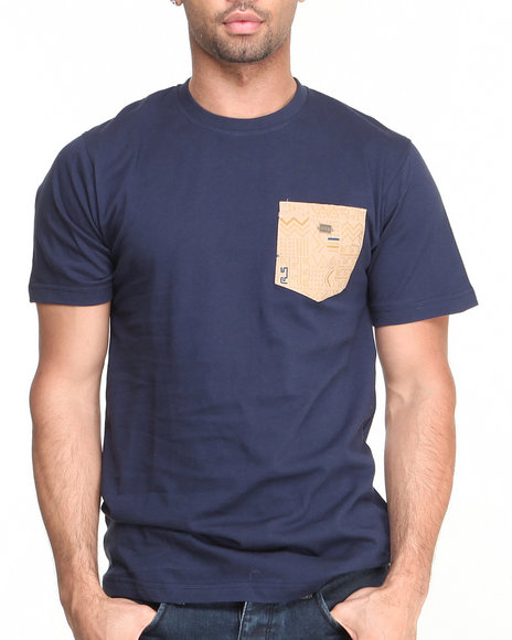 Rocksmith - Men Navy Kente Scribble Pocket T-Shirt