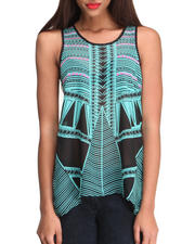 Women - Aztec Chiffon Hi-Low Hem Knit Back Top