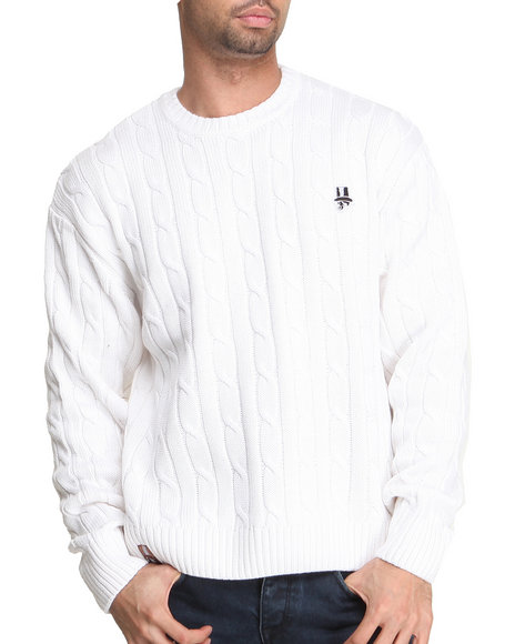 Buyers Picks - Men White Indigo Red Fancy Skull Logo Cable - Knit Sweater