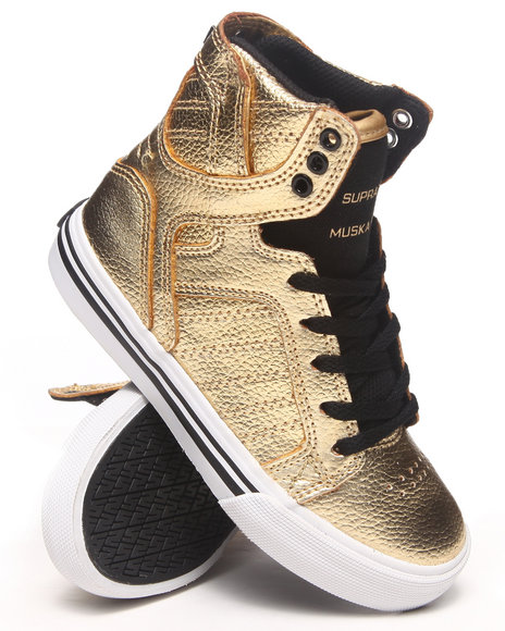 Supra - Boys Gold Skytop Gold Leather Sneakers (Youth)