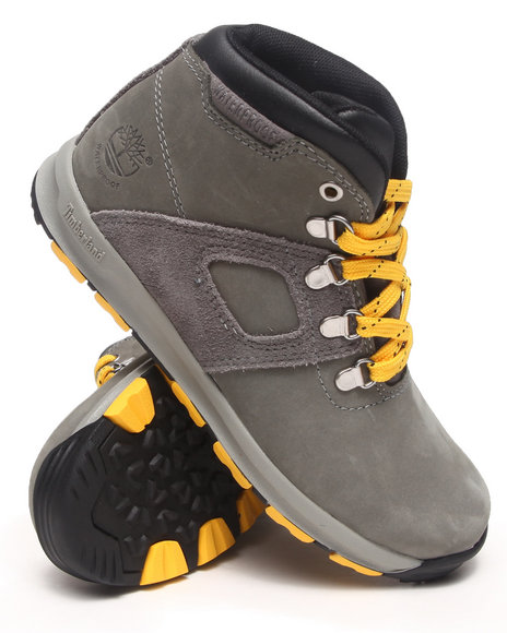 Timberland - Boys Grey Earthkeepers Gt Scramble Mid Leather Waterproof Boots - $32.99