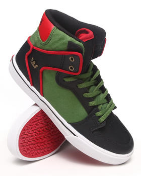 Supra - Vaider Black Leather/Green Nylon Sneakers (Kids)