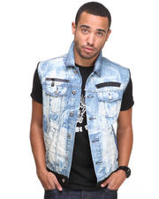 Jackets & Coats - Trinidad Denim Vest w/ Stitch Detail