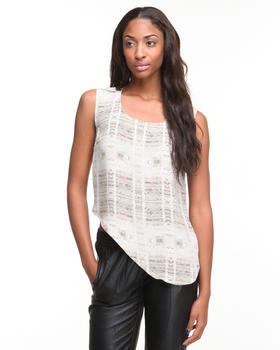 Tops - Silk Parking Lot Print Asymetric Tank