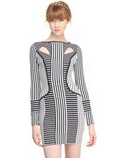 Evening/Cocktail - STRIPE ILLUSIONS DRESS