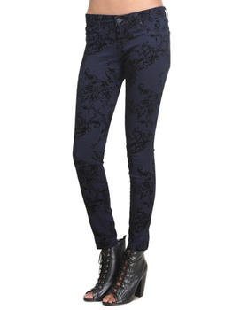 Skinny - Emma Velvet Floral Print Jean
