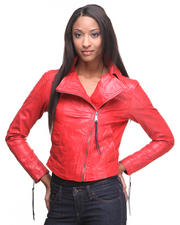 Women - Washed Leather and Shearling Jacket
