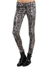 True Religion - Feathered Dreams Print Mid Rise Super Skinny Jean
