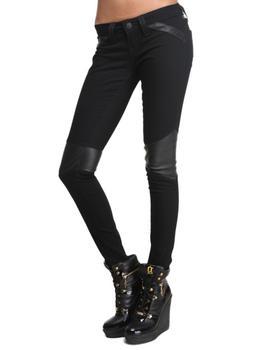 True Religion - Black Moto Leather Trim Skinny Jean