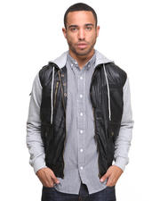 Jackets & Coats - Mayweather Denim Vest w/ Jersey Sleeves