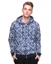 Shades of Grey by Micah Cohen - Bandana Print Zipup Hoodie