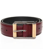 Men - Textured Leather Belt w/ Two Tone Buckle