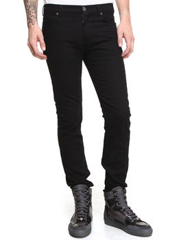 Slim - Basic Black Denim w/ Logo Metal Hit